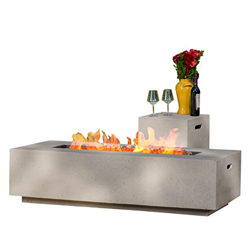 Christopher Knight Home Aidan Outdoor Rectangular Fire Table with Tank Holder, Light Gray