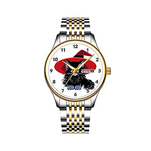 Reloj de pulsera japonés de cuarzo con fecha, pulsera de acero inoxidable dorado, diseño de dibujos animados