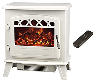 "Galleon Fires""Castor"" Electric Stove with Remote Control Electronically Controlled LED System- LED Flame Effect- Cream - Electric Stove Fireplaces - Heater - Free Standing Fires -"