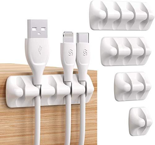 Organizador de cables organizador de cables USB de gestión de cables autoadhesivo Sistema de soporte de cable USB para organizar cables de cable, ideal para el hogar o la oficina del coche (blanco)