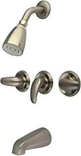 Kingston Brass KB238LL Tub and Shower Faucet with 3-Legacy Lever Handle, Satin Nickel,5-Inch Spout Reach