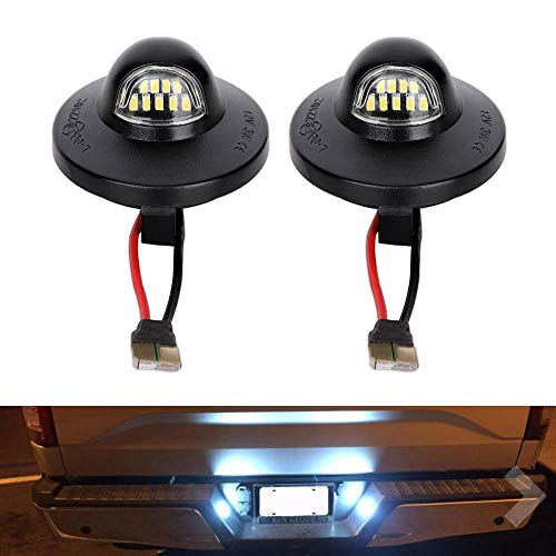 2 PCS LED License Plate Light Lamp Assembly Fit Ford F-150 F-250 F-350 F-450 F-550 Superduty Ranger Explorer Bronco Excursion Expedition Replace F1TZ-13550-A F37Z-13550-A F37Z-13550-AA F67Z13550AA