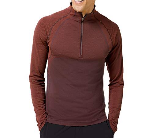 Lululemon Mens Metal Vent Tech 1/2 Zip Long Sleeve Shirt (Magma/Sequoia, XL)