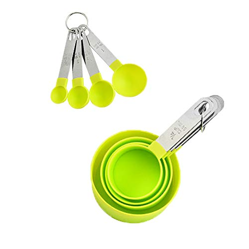 Joy U Grocery green Measuring Cups Set 8 pcs a Cup Marked in Graded Amounts Used for Measuring Ingredients in Cooking Multiple Size