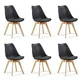 Designetsamaison Lot de 6 chaises scandinaves Noires - Bjorn