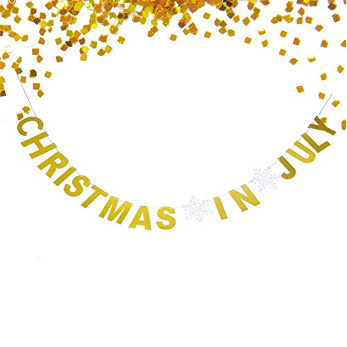 Starsgarden Gold Glittery Christmas in July Banner Happy New Year Decorations Hanging Banner Merry Xmas Happy New Year Party Photo Prop New Years eve Party Supply(Gold Christmas in July)