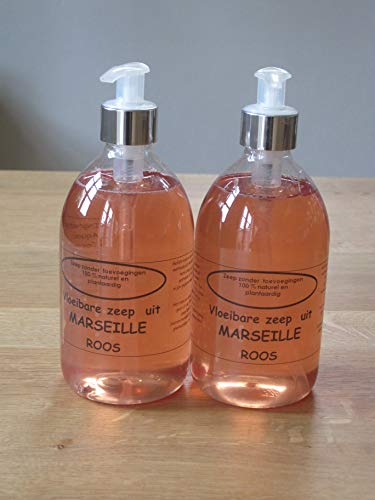Vloeibare Marseille zeep pompje 2x 500 ml Roos