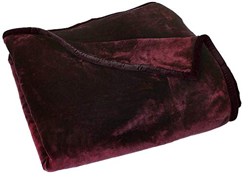 Chezmoi Collection Heavy Thick One Ply Korean Style Faux Mink Blanket 9-Pound Oversized King 105x92 (King, Burgundy)