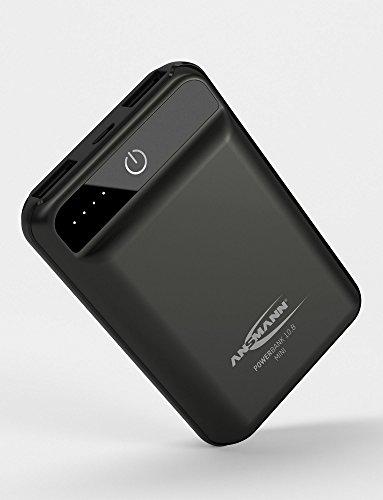 ANSMANN Mini Powerbank TÜV geprüft 10000 mAh & 2.1A Ausgang - Kleine Power Bank mit 2 USB Ports & LED Statusanzeige - Ladegerät für Handy Smartphone Tablet Apple Samsung Kindle uvm - Externer Akku
