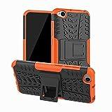 Jtailhne Compatible con Funda Lenovo Phab 2 Plus, RíGida Tire Pattern Doble Capa HíBrida Armor Kickstand a Prueba De Choques Carcasa Naranja & 2X Cristal Templados