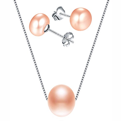 Kim Johanson Damen Perlen Schmuckset Alena aus 925 Sterling Silber mit echten rosa Süßwasser Perlen Halskette & Ohrringe inkl. Schmuckbeutel