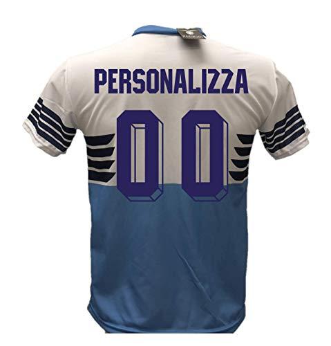 Camiseta de fútbol Lazio personalizable, réplica autorizada 2018-2019 para niño (tallas 6, 8, 10, 12) para adulto (S, M, L, XL), turquesa, X-Large