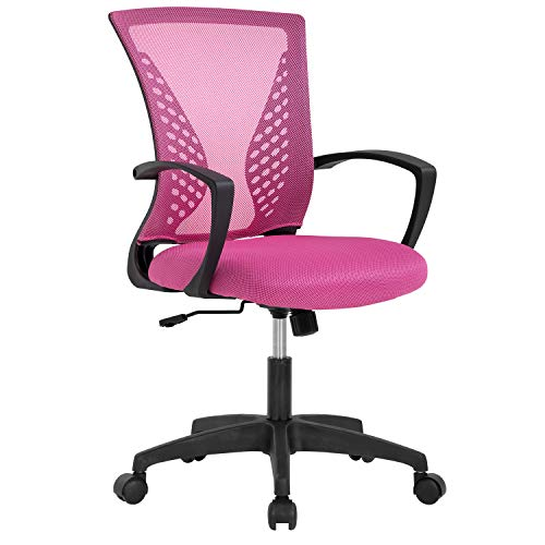 Ergonomic Office Chair Desk Computer Mesh Executive Task Rolling Gaming Swivel Modern Adjustable with Mid Back Lumbar Support Armrest for Home Women Men,Pink