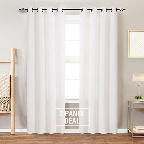 Linen Textured Curtain Panels for Bedroom Grommet Top Burlap Textured Light Filtering Living Room Window Drapes 63 Inches Length 2 Panels White