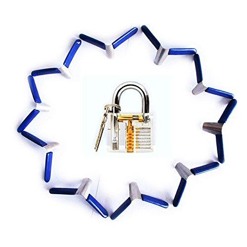 Lockmall 10pcs Padlock Shims with Transparent Practice Padlock for Locksmith Training