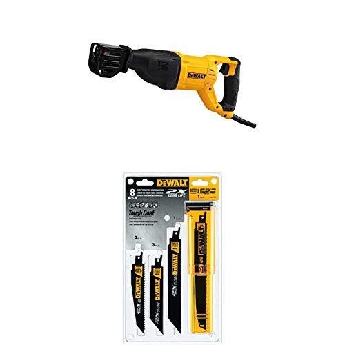 DEWALT DWE305 12 Amp Corded Reciprocating Saw with DWA4101 Bi-Metal 2X Reciprocating Saw Blade Set, 8-Piece