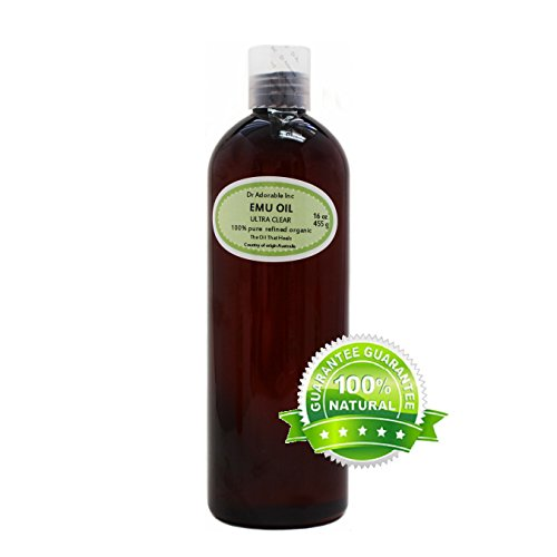 ULTRA CLEAR EMU OIL BY DR.ADORABLE 100% PURE ORGANIC NATURAL 16 OZ/1 PINT