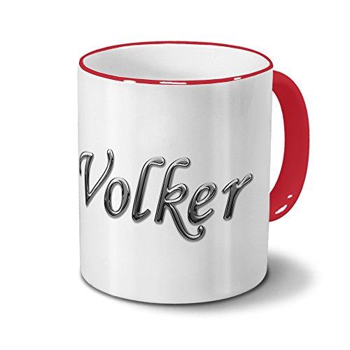 printplanet Tasse mit Namen Volker - Motiv Chrom-Schriftzug - Namenstasse, Kaffeebecher, Mug, Becher, Kaffeetasse - Farbe Rot