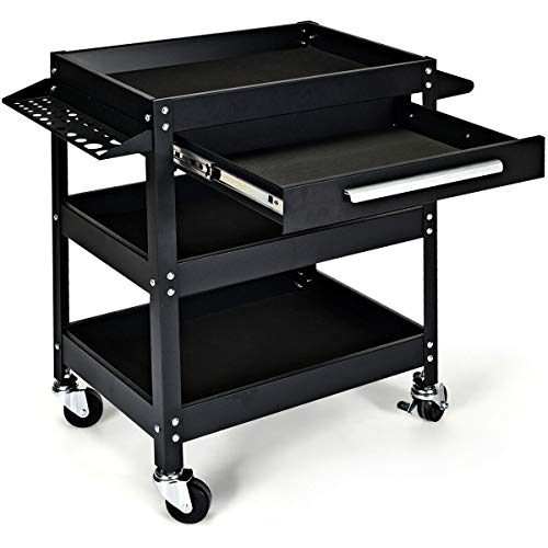 Goplus Service Tool Cart Tool Organizers, 330 LBS Capacity 3-Tray Rolling Utility Cart Trolley with Drawer, Industrial Commercial Service Cart, Mobile Storage Cabinet Organizer Dollies, Black