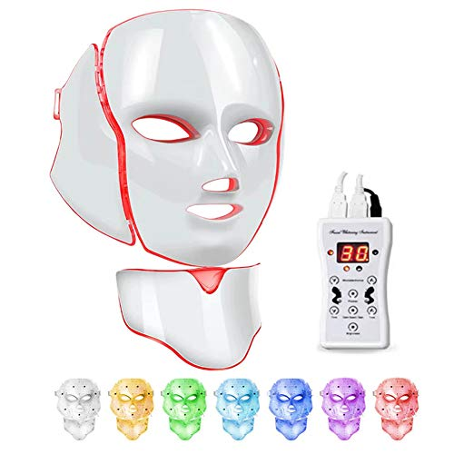 Led Face Mask 7 Color Facial Skin Care Mask with Blue & Red Light Skin Mask for Home SPA Use (White)