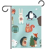 ホームガーデンフラッグ両面春夏庭の屋外装飾 28x40in,クリスマス手描きスタイルの動物