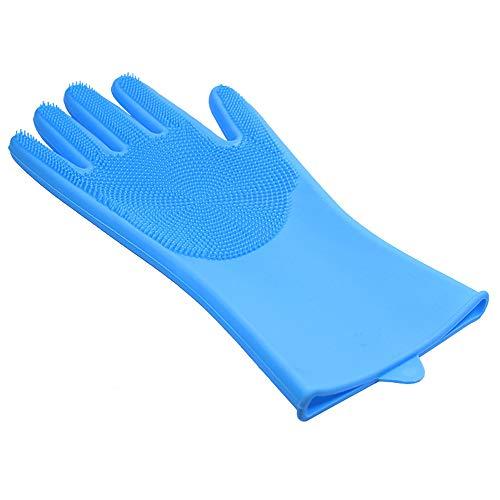 Designs Gants en Silicone Gants Magiques - Gants De Lave-Vaisselle Réutilisables - Gants en Caoutchouc pour La Maison, Le Lavage, La Voiture(Bleu)