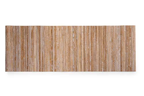 CosìCasa Tappeto Cucina Bamboo Antiscivolo [50X230] | Passatoia Cucina Legno con Effetto Lavato | Tappeto Runner Lungo Colorato [50X230, Beige]