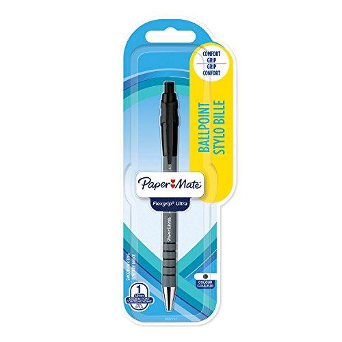 Papermate FlexGrip Ultra Penna a Sfera a Scatto, Punta Media di 1 mm, Confezione da 1, Nero