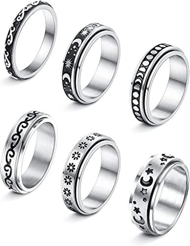 LOLIAS 6 Stück Fidget Band Ringe Set Edelstahl Spinner Ringe für Frauen Männer Mond Stern Sand Blume Damen Ring zum Stressabbauen Hochzeitsversprechen Größe 49-62