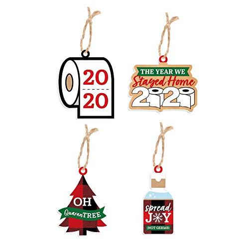 Personalized Quarantine Christmas Ornament 2020, 4 pcs Christmas Tree Pendants Decorations