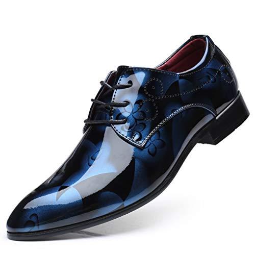[ブウケ] ビジネスシューズ メンズ 革靴 花柄 幅広 ウォーキング 走れる 軽量 紐 レースアップ 外羽根 立ち仕事 ブルー 紳士靴 痛くない 柔らかい 通勤 あるきやすい 蒸れない 衝撃吸収 カジュアル 撥水 雨天兼用 燕尾服 通勤用 25.5cm