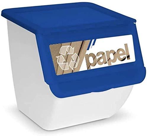 TIENDA EURASIA® Cubos de Basura de Reciclaje para Cocina Apilables. Contenedores de 36L (Papel - Vidrio - Plastico). Medida 39x39x36 cm (Azul Papel)