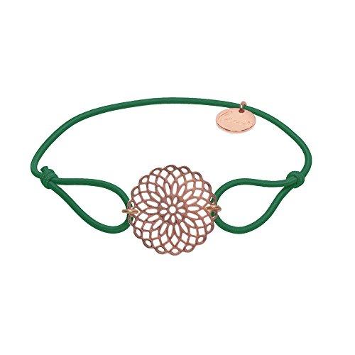 lua accessories - Armband Damen - Elastikband - größenverstellbar - hochwertig vergoldete Lebensblume - Sun rose (grün)