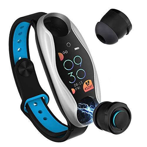 Montre Intelligente avec écouteur Bluetooth, Bracelet Intelligent Fitness Tracker Bracelet fréquence Cardiaque Kcal Bracelet, True TWS Écouteurs sans Fil à Long Temps de Veille pour Hommes Femmes