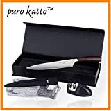 PURO KATTO   Couteau de Cuisine Japonais Premium 21cm   Professionnel   Couteau Chef Magnifique   Acier Inoxydable Forgé Carbone...