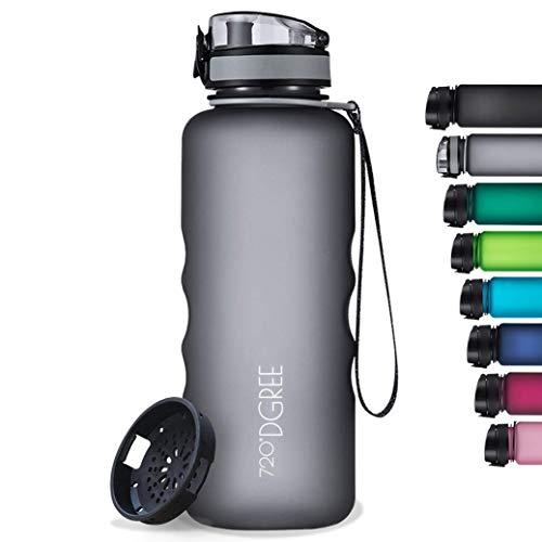 "720°DGREE Botella de Agua ""uberBottle"" softTouch +Tamiz – 1500ml | Impermeable y Reutilizable | para Beber Ideal para niños, Deporte, Escuela | Sin BPA"