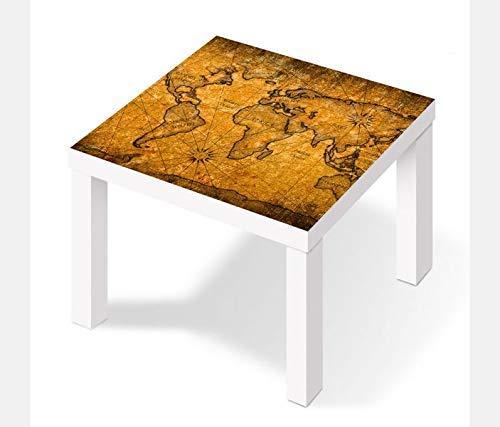 Möbelaufkleber für Ikea Lack Tisch 55x55cm Karte Welt Weltkarte braun antike Landkarte Afrika map alt Aufkleber Klebefolie Möbelfolie Folie (Ohne Möbel) 25W2797