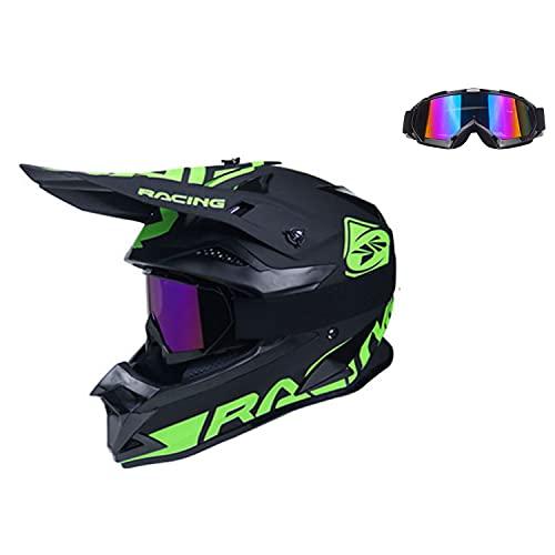 STZYY Motocicleta Todo Terreno Todoterreno con Gafas, Casco De Motocicleta ATV para Hombres Y Mujeres Adultos, Negro Y Verde