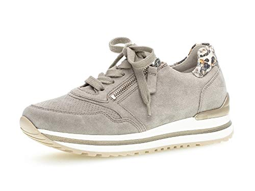 Gabor Damen Sneaker, Frauen Low-Top Sneaker,Comfort-Mehrweite,Reißverschluss,Optifit- Wechselfußbett, Women's,Puder/Creme(perf.),40 EU / 6.5 UK