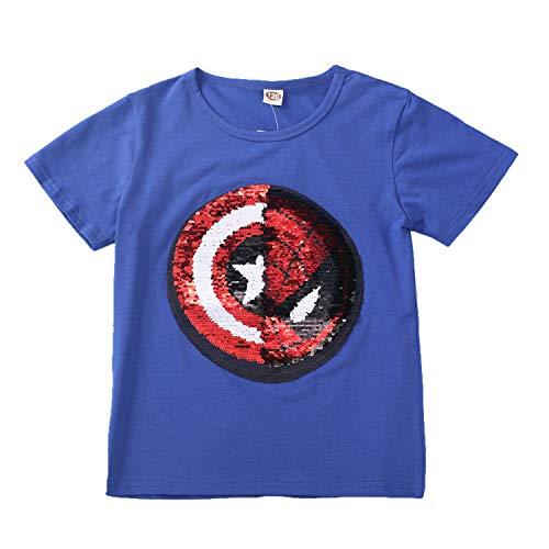 Lee little Angel 2018 Nuevas Lentejuelas Infantiles de Ropa Infantil cambiarán el patrón de Las Camisetas de algodón (120, Azul)