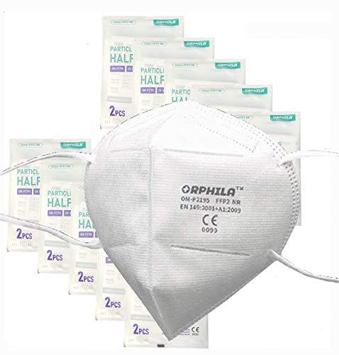 50x Zertifizierte FFP2 Maske nach EN149:2001 CE Zertifiziert durch bennante Stelle 0099 Atemschutz Mundschutz und [TÜV Rheinland REACH Testreport] Partikefiltermaske