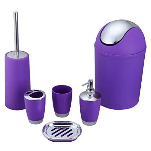 N / A 6 Piezas Accesorios Set Juego de Baño con Escobilla para el Inodoro, Dispensador de Jabón, Vaso para Cepillo de Dientes, Soporte para Cepillo de Dientes, Jabonera, Bote de Basura (Púrpura)