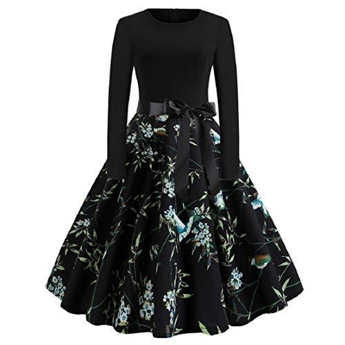 Bluelucon Rockabilly-jurk voor dames, vintage stijl (jaren 50), lange mouwen, elegante petticoat, knielang, cocktailjurk, avondjurk, bloemenpatroon, A-lijn jurk