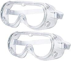 [2個入] 保護メガネ 軽量 透明 保護用アイゴーグル 防塵ゴーグル 眼鏡着用可 耐衝撃性 花粉症対策 防塵ゴーグル 花粉症 飛沫カ ット 曇り止め 防曇 予防 安全 防塵