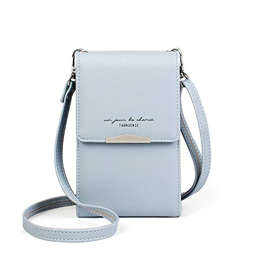 Katech Handtasche Damen Kleine, Multifunktionale Handytasche Citytasche Schultertasche mit Vielen Fächern und Kartenfächer, Crossbody Tasche für Damen (Blau)