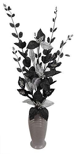 Schwarz und Silber Künstliche Blumen Mit Silber Vase, Wohnaccessoires & Deko Geeignet für Bad, Schlafzimmer Oder Küche, 80cm groß