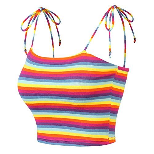 Allegra K Women's Colorful Rainbow Striped Tie Spaghetti Straps Crop Top Sleeveless Summer Cami Tube Tops XS Multicolor Purple