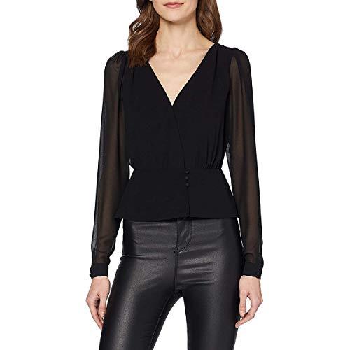 Guess LS Elizabeth Top Camisa Henley, Negro, M para Mujer