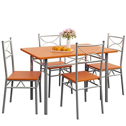 Deuba 5tlg. Sitzgruppe Paul Kastanie   Esstisch mit 4 Stühlen   Für Esszimmer Küche und Balkon Essgruppe Tisch Stuhl Set
