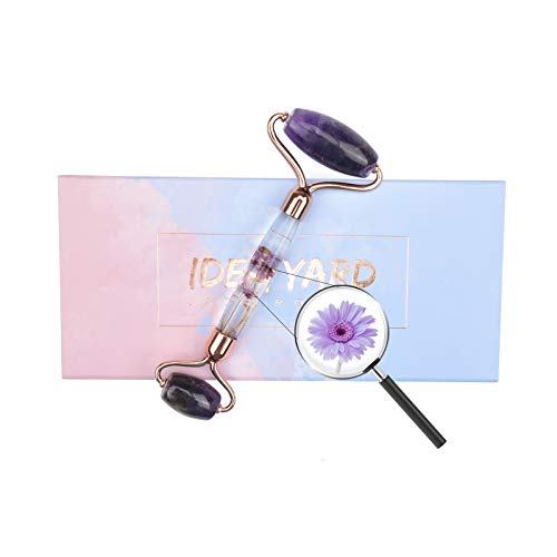 Jade Roller for Face Massage, Noiseless Facial Beauty Roller, Anti Aging Face Roller for Puffiness, Real Flower Infused Handle (Amethyst)